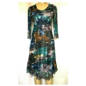 Komarov Dress Crinkle Sheer Midi Blue Multi V Neck